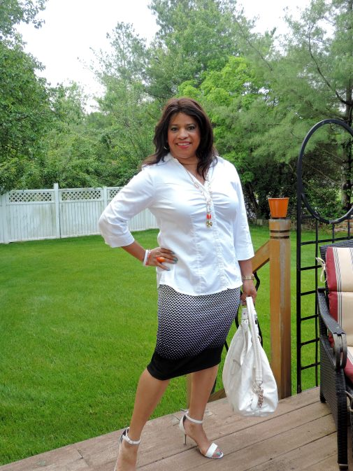 white cotton shirt and pencil skirt
