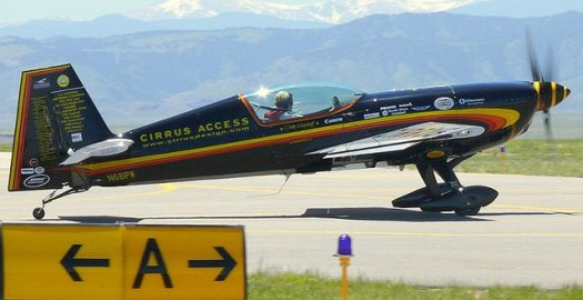 Patty Wagstaff in an Extra 300 airplane