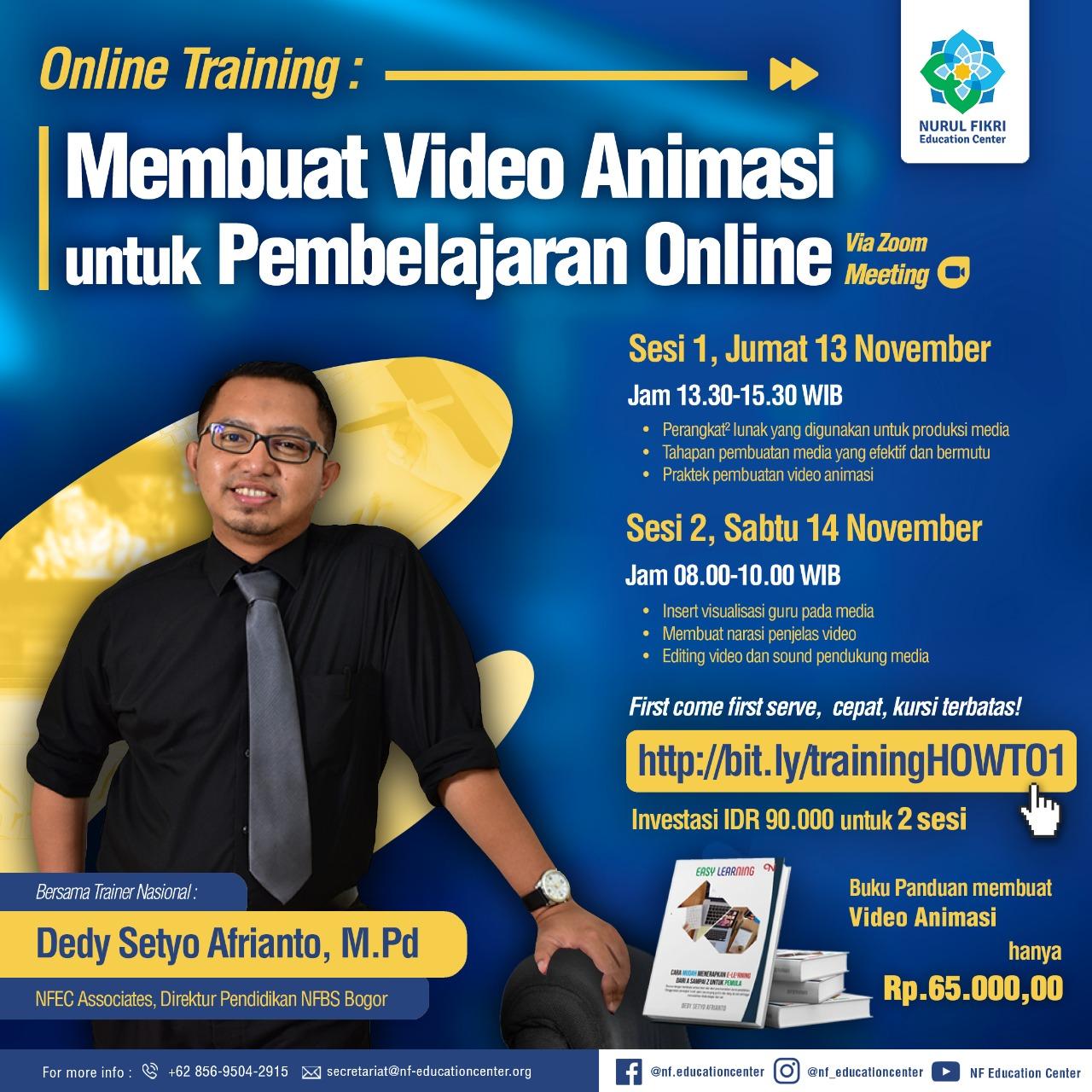 Online training  Membuat Video Animasi untuk pembelajaran. Kursi terbatas