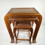 Three Oriental Carved Wood Nesting Tables On Swept Supports Largest 24 High X 21 Wide X 14 Deep