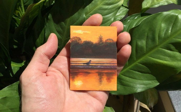 ACEO SUNSET GULL HAND