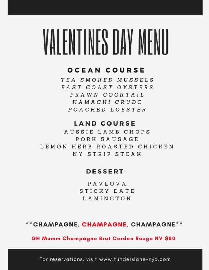 Flinders Lane Valentine's Day Menu