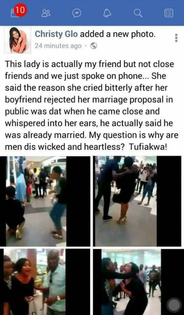Nigerian Man Rejects Girlfriend's Proposal At Ikeja City Mall