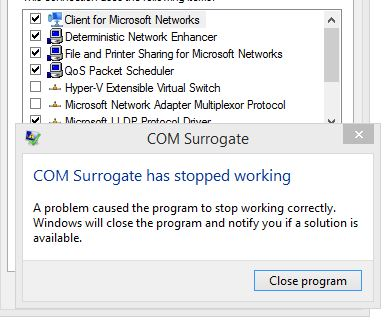 COM Surrogate error…when changing network adapter?