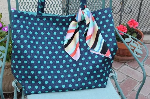 Polka Dot Upholstery Fabric Tote