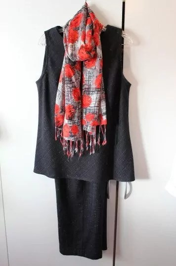 A warm red, gray, white scarf
