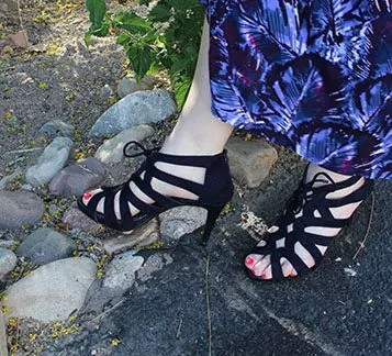 Navy cage sandals
