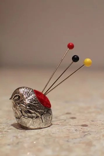 Sterling silver bird pincushion