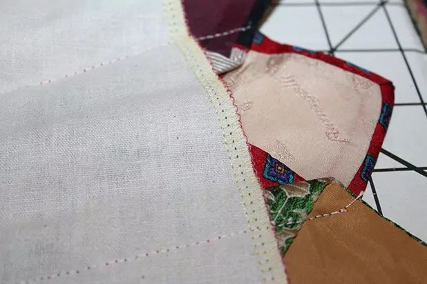 Tie ends overlap the base fabric