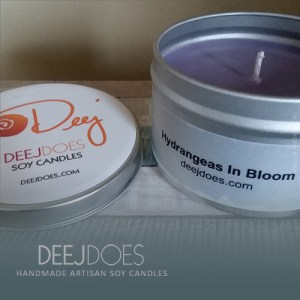 Hydrangeas In Bloom Soy Candle by DEEJ DOES
