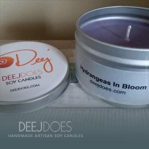 Hydrangeas In Bloom Soy Candle by DEEJ DOES