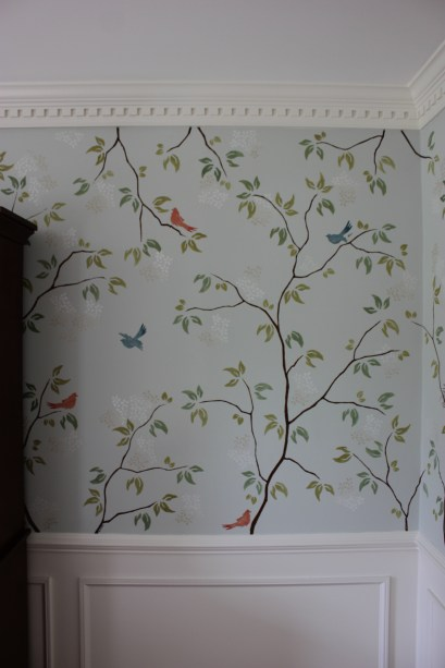 Modern Chinoiserie Stencilled Mural