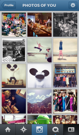Shows the photos that others share of you on Instagram