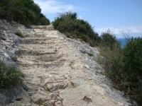 Stairs carved into the mountain on the way up Carmel Mountain