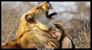 Girl with lion on funny questions to ask a girl
