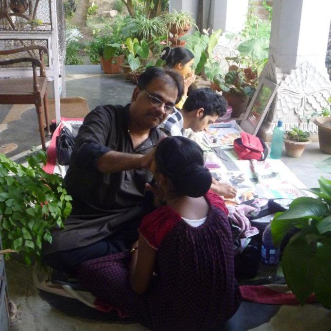 Guru Ratikant Mohapatra prepping his student