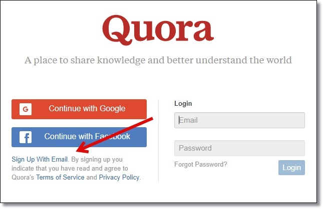 Sign-up-on-Quora