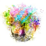 futuristic colorful background with tree and beautiful butterflies with paint spots
