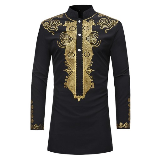 Men's Embroidery Dashiki Long Sleeve Shirt