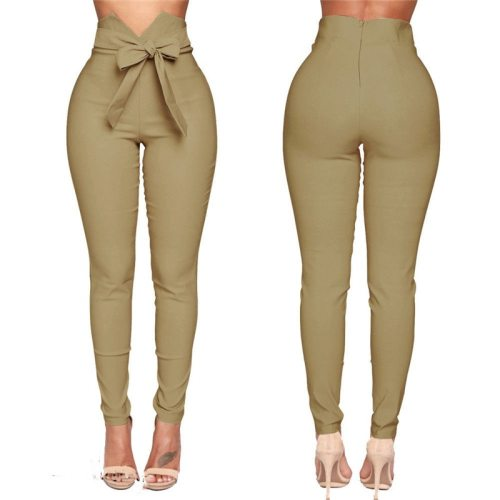 High waisted elastic pencil skinny pants