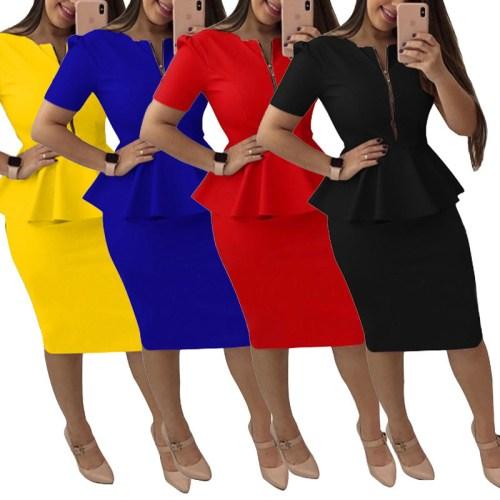 Zip-Up Short Sleeve Peplum Dress