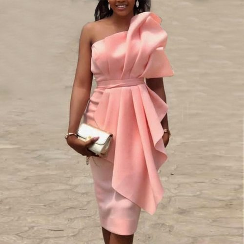 Backless Off Shoulder Peplum Dress
