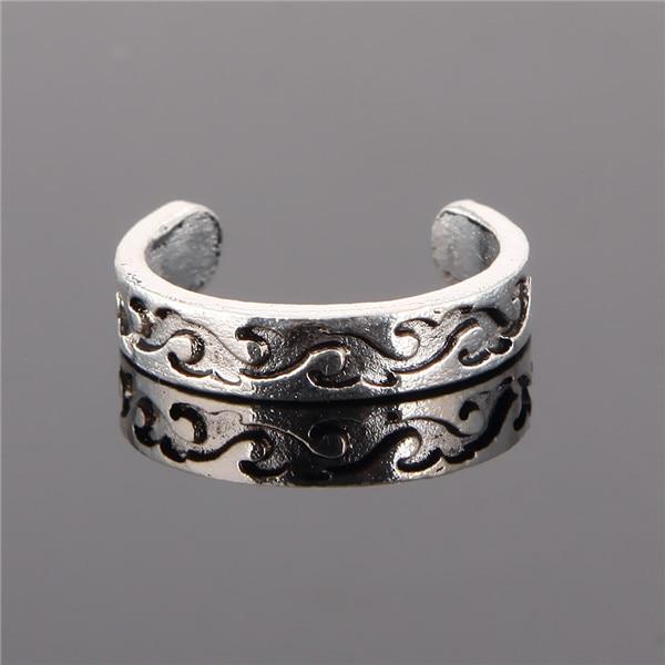 Unique Adjustable Carved Toe Ring