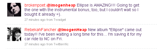Just 2 out of hundreds of Tweets from excited Heap fans
