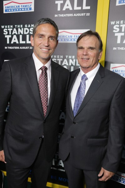Hollywood, CA - August 4, 2014: Jim Caviezel and Coach Bob Ladouceur at Tri Star Pictures' red carpet premiere of WHEN THE GAME STANDS TALL at the Arclight Hollywood Theatre.