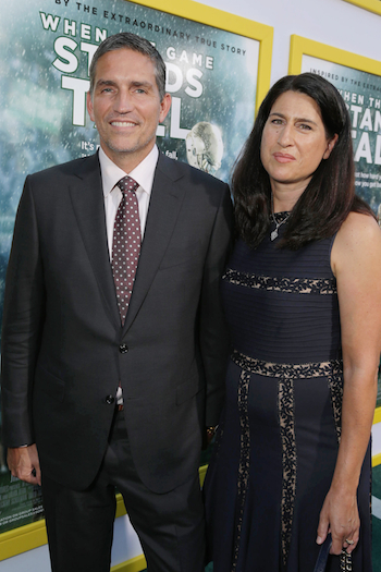Jim Caviezel and Kerri Browitt Caviezel at Tri Star Pictures' red carpet premiere of WHEN THE GAME STANDS TALL at the Arclight Hollywood Theatre. (Screen Gems, SPE Inc., CR: Eric Charbonneau)