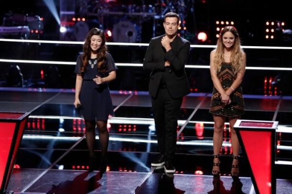 Clara Hong, Carson Daly, Rebekah Samarin - (The Voice, NBC: Tyler Golden)