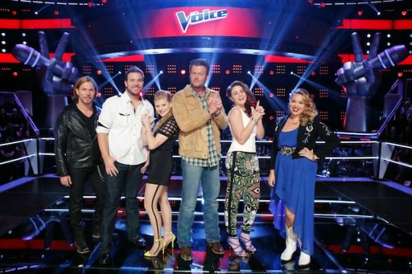 THE VOICE -- Knockout Rounds - Pictured: (l-r) Craig Wayne Boyd, James David Carter, Jessie Pitts, Blake Shelton, Reagan James, Taylor Brashears -- (Photo by: Trae Patton/NBC)