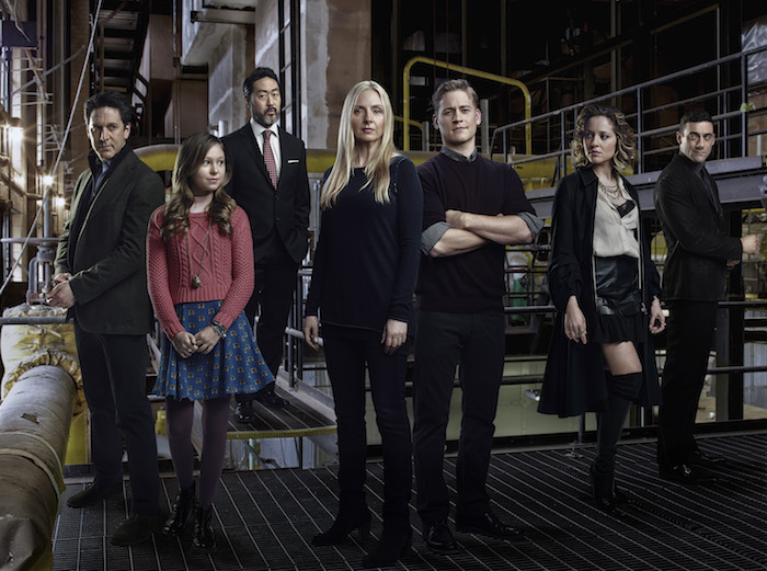 ALLEGIANCE -- Season:1 -- Pictured (l-r): Scott Cohen as Mark O'Connor, Alex Peters as Sarah O'Connor, Kenneth Choi as Sam Luttrell, Hope Davis as Katya O'Connor, Gavin Stenhouse as Alex O'Connor, Margarita Levieva as Natalie O'Connor, Morgan Spector as Victor Dobrynin -- (Photo by: Joe Pugliese/NBC)