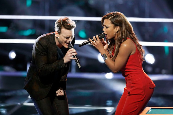 """THE VOICE -- """"Battle Rounds""""  -- Pictured: (l-r) Clinton Washington, India Carney -- (Photo by: Tyler Golden/NBC)"""