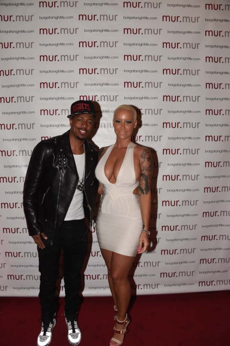 Nick Cannon & Amber Rose at mur.mur, located at the Borgata Hotel Casino & Spa.
