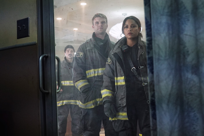 "CHICAGO FIRE -- ""I Am The Apocalypse"" Episode 319 -- Pictured: (l-r) Yuri Sardarov as Otis, Jesse Spencer as Matthew Casey, Monica Raymund as Gabriela Dawson -- (Photo by: Elizabeth Morris/NBC)"