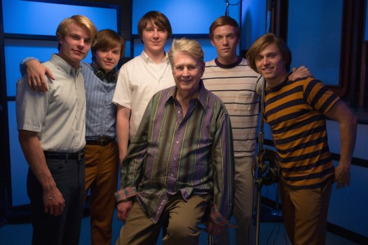 "Brian Wilson and the cast of ""Love & Mercy"" - From left to right: Graham Rogers, Brett Davern, Paul Dano, Brian Wilson, Jake Abel, Kenny Wormald."