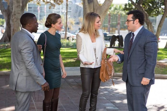 Jimmy Callahan (Kevin Hart), Alison Palmer (Olivia Thirlby), Gretchen Palmer (Kaley Cuoco) and Doug Harris (Josh Gad) in Screen Gems' THE WEDDING RINGER.