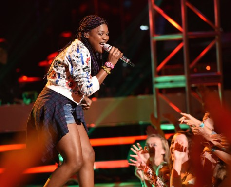 Tyanna Jones performs on AMERICAN IDOL XIV airing Wednesday, April 22 (8:00-10:00 PM ET/PT) on FOX. CR: Michael Becker / FOX.