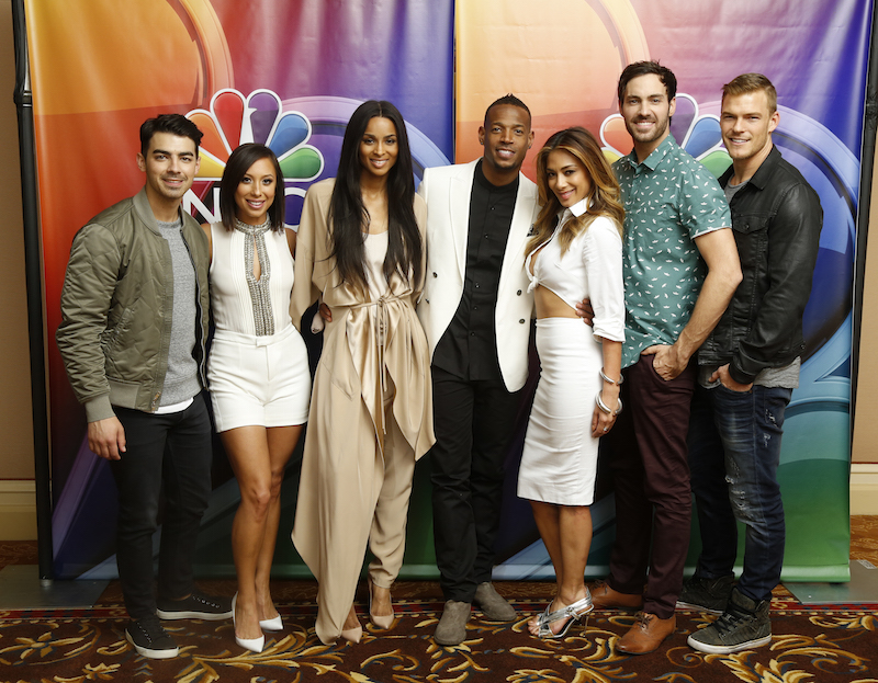 "- NBCUniversal Summer Press Day, April 2015 --  ""I Can Do That"" -- Pictured: (l-r) Joe Jonas, Cheryl Burke, Ciara, Marlon Wayans, Host;  Nicole Scherzinger, Jeff Dye, Alan Ritchson -- (Photo by: Paul Drinkwater/NBC)"