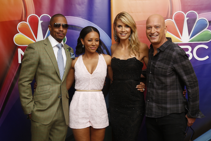 "NBCUniversal Summer Press Day, April 2015 -- ""America's Got Talent"" -- Pictured: (l-r) Nick Cannon, Host; Mel B, Judge; Heidi Klum, Judge; Howie Mandel, Judge -- (Photo by: Paul Drinkwater/NBC)"