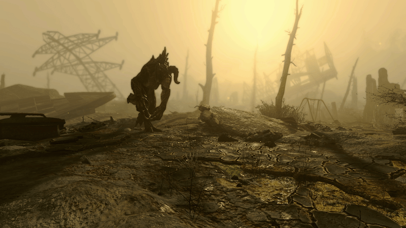 """A Deathclaw is ready to attack in """"Fallout 4"""""""