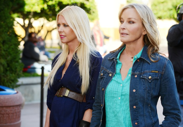 SHARKNADO 3: OH HELL NO!  -- Pictured: (l-r) Tara Reid as April Wexler, Bo Derek as May -- (Photo by: Gene Page/Syfy)