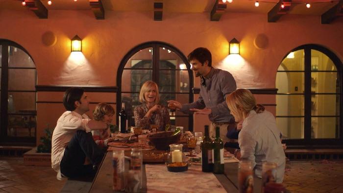 "L-R: Jason Schwartzman, Judith Godreche, Adam Scott, and Taylor Schilling in ""The Overnight"" (The Orchard)."