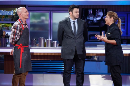 FOOD FIGHTERS  -- Pictured: (l-r) Ryan McKay, Adam Richman, Lorena Garcia -- (Photo by: Greg Gayne/NBC)