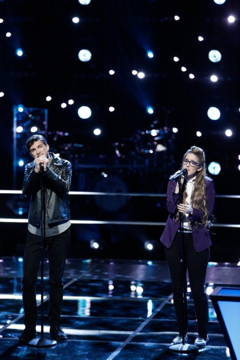 "THE VOICE -- ""Battle Rounds"" -- Pictured: (l-r) Chase Kerby, Korin Bukowski -- (Photo by: Tyler Golden/NBC)"
