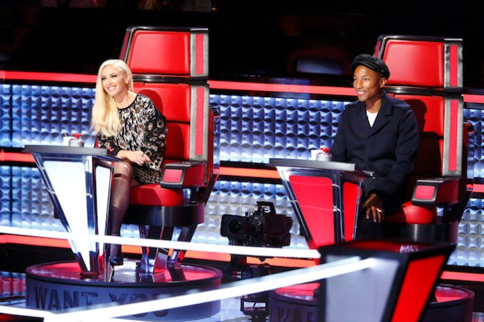 """THE VOICE -- """"Battle Rounds"""" -- Pictured: (l-r) Gwen Stefani, Pharrell Williams -- (Photo by: Trae Patton/NBC)"""
