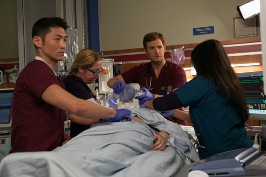 "CHICAGO MED -- ""Derailed"" -- Pictured: (l-r) Brian Tee as Dr. Ethan Choi, Nick Gehlfuss as Dr. Will Halstead -- (Photo by: Elizabeth Sisson/NBC)"