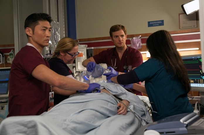 """CHICAGO MED -- """"Derailed"""" -- Pictured: (l-r) Brian Tee as Dr. Ethan Choi, Nick Gehlfuss as Dr. Will Halstead -- (Photo by: Elizabeth Sisson/NBC)"""