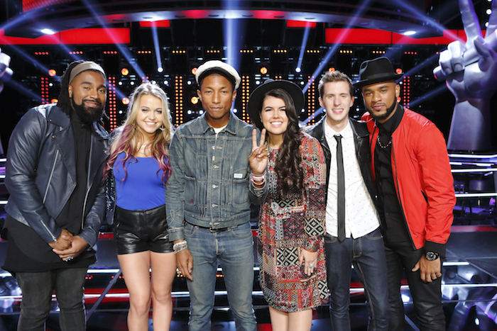 "THE VOICE -- ""Knockout Rounds"" -- Pictured: Darius Scott, Riley Biederer, Pharrell Williams, Madi Davis, Evan McKeel, Mark Hood -- (Photo by: Trae Patton/NBC)"